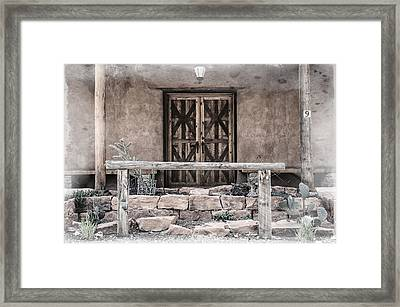 Wooden Door And Hitching Rail Framed Print by Mark Summerfield