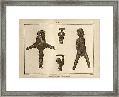 Wooden Figures From Jamaica Framed Print by Middle Temple Library