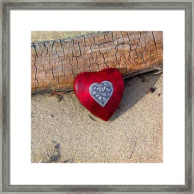 Wooden Heart Framed Print by Art Block Collections