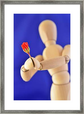 Wooden Man -  Flower For You Framed Print by Gynt