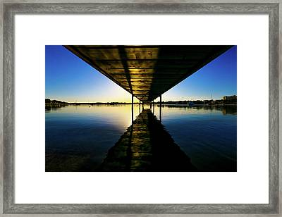 Wooden Pier At Sunset Framed Print by Wladimir Bulgar
