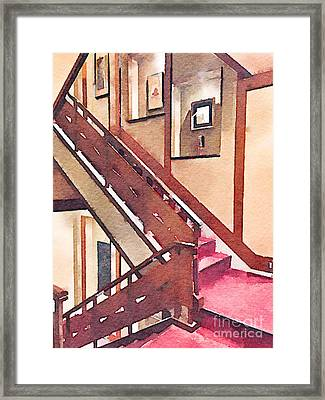Wooden Staircase At A Japanese-style Inn Framed Print by Beverly Claire Kaiya