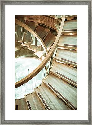 Wooden Staircase Framed Print by Tom Gowanlock