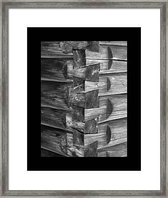 1875 Woodgrain Log Cabin Corner Study In  Black White Framed Print by Jack Pumphrey