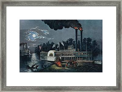 Wooding Up On The Mississippi Colour Litho Framed Print by N. Currier