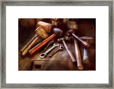 Woodworker - A Collection Of Hammers  Framed Print by Mike Savad