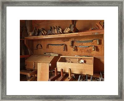 Woodworking Tools In Carpentry Shop Framed Print by William Sutton
