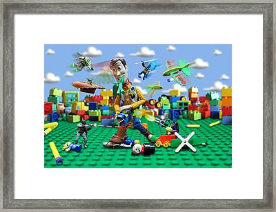Woody Vs The Little Guys Framed Print by Randy Turnbow