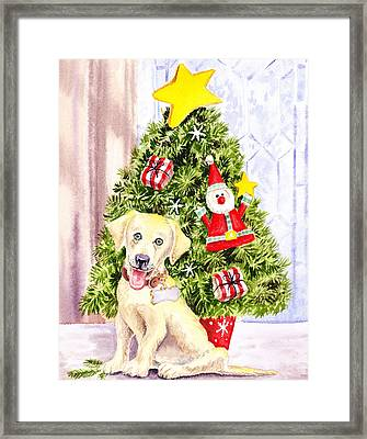 Woof Merry Christmas Framed Print by Irina Sztukowski