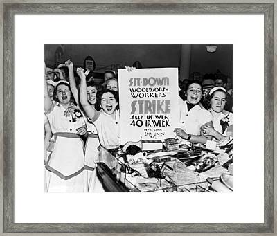 Woolworth Workers Strike Framed Print by Underwood Archives
