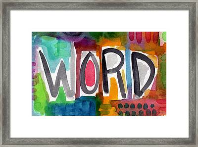 Word- Colorful Abstract Pop Art Framed Print by Linda Woods
