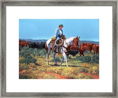 Working Cowgirl Framed Print by Randy Follis