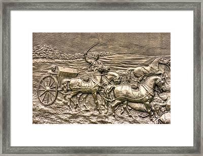 Working The Limber. Detail-a 1st New York Independent Battery - Cowans Gettysburg Autumn Morning Framed Print by Michael Mazaika