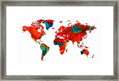 World Map 12 - Colorful Red Map By Sharon Cummings Framed Print by Sharon Cummings