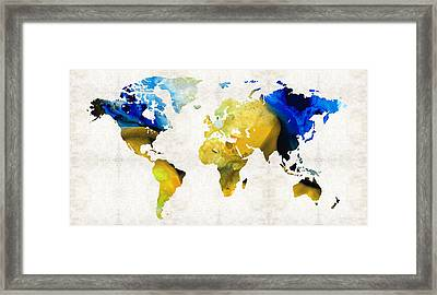 World Map 16 - Yellow And Blue Art By Sharon Cummings Framed Print by Sharon Cummings