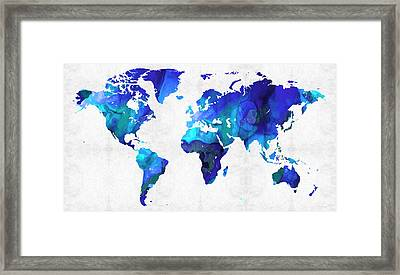 World Map 17 - Blue Art By Sharon Cummings Framed Print by Sharon Cummings