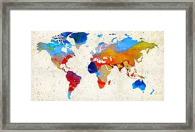 World Map 18 - Colorful Art By Sharon Cummings Framed Print by Sharon Cummings