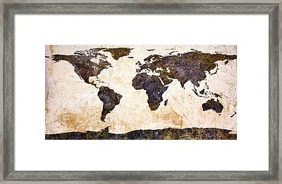 World Map Abstract Framed Print by Bob Orsillo