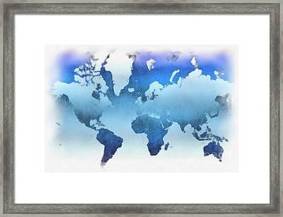World Map Artwork Framed Print by Antony McAulay