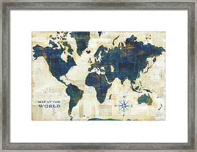 World Map Collage Working Framed Print by Sue Schlabach