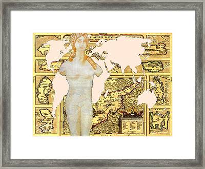 World Map Cyprus And Aphrodite Framed Print by Augusta Stylianou