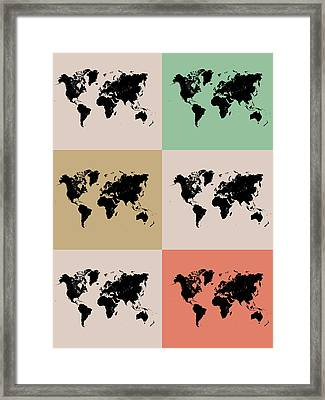 World Map Grid Poster 2 Framed Print by Naxart Studio