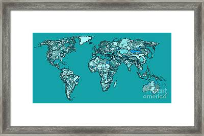 World Map In Aquamarine Framed Print by Adendorff Design