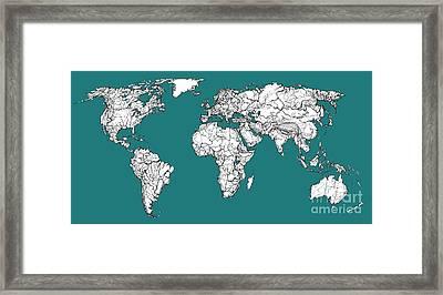World Map In Blue Green Framed Print by Adendorff Design