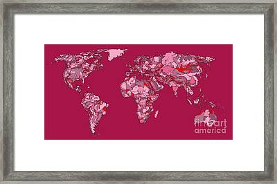 World Map In Bright Mauve Framed Print by Adendorff Design