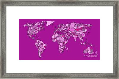World Map In Cerise Framed Print by Adendorff Design
