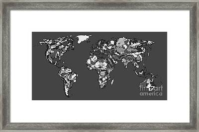 World Map In Charcoal Framed Print by Adendorff Design