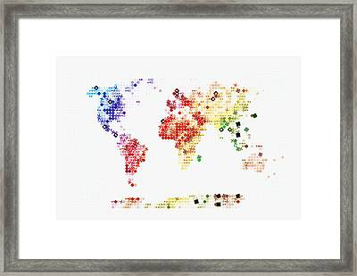 World Map In Circles Framed Print by Celestial Images