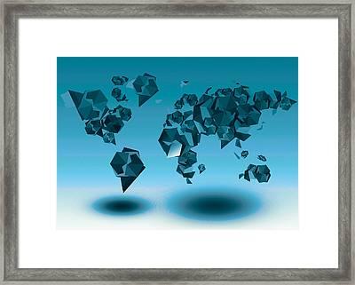 World Map In Geometic Blue  Framed Print by Bekim Art