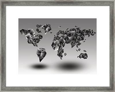 World Map In Geometic Gray  Framed Print by Bekim Art