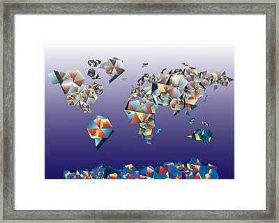 World Map In Geometric Fractal 2 Framed Print by Bekim Art