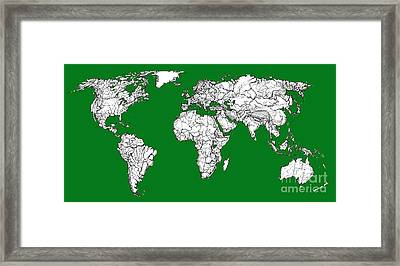 World Map In Green Framed Print by Adendorff Design