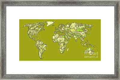World Map In Khaki  Framed Print by Adendorff Design