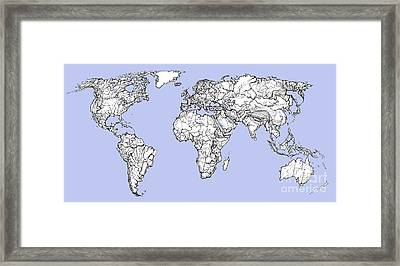 World Map In Light Blue Framed Print by Adendorff Design