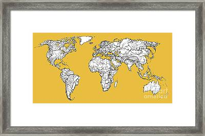World Map In Mustard Framed Print by Adendorff Design