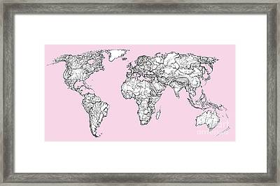 World Map In Pink Framed Print by Adendorff Design