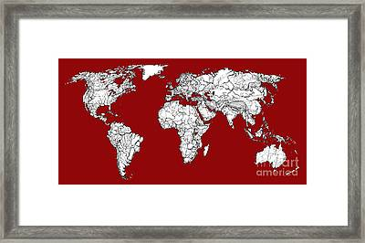 World Map In Red Framed Print by Adendorff Design