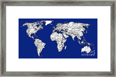 World Map In Royal Blue Framed Print by Adendorff Design