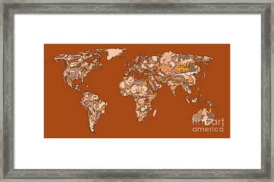 World Map In Sepia Framed Print by Adendorff Design
