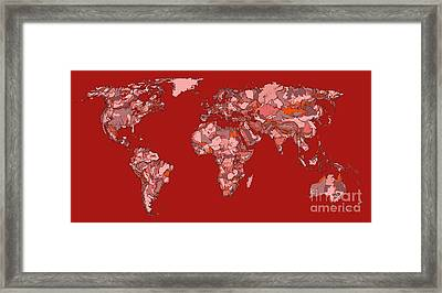 World Map In Vivid Red Framed Print by Adendorff Design