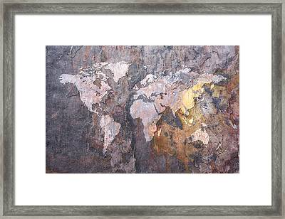 World Map On Stone Background Framed Print by Michael Tompsett