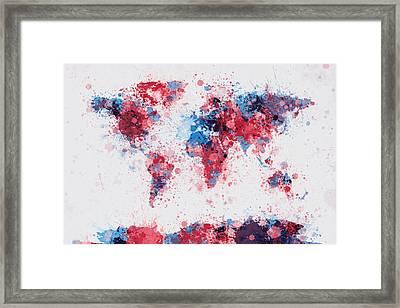 World Map Paint Splashes Framed Print by Michael Tompsett