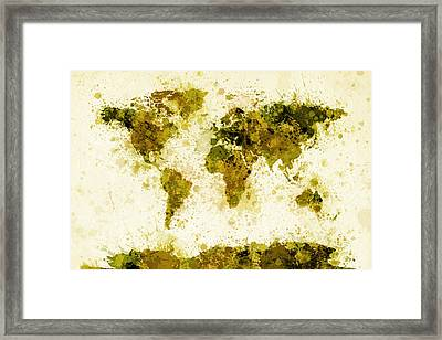 World Map Paint Splashes Yellow Framed Print by Michael Tompsett
