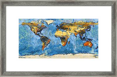 World Map Painterly Framed Print by Pixel Chimp