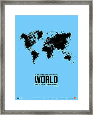 World Map Poster Framed Print by Naxart Studio