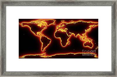 World Map Red Glow Framed Print by Pixel Chimp